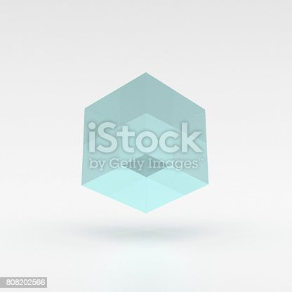 istock Blue, lucid cube levitating over the ground - 3D illustration 808202566