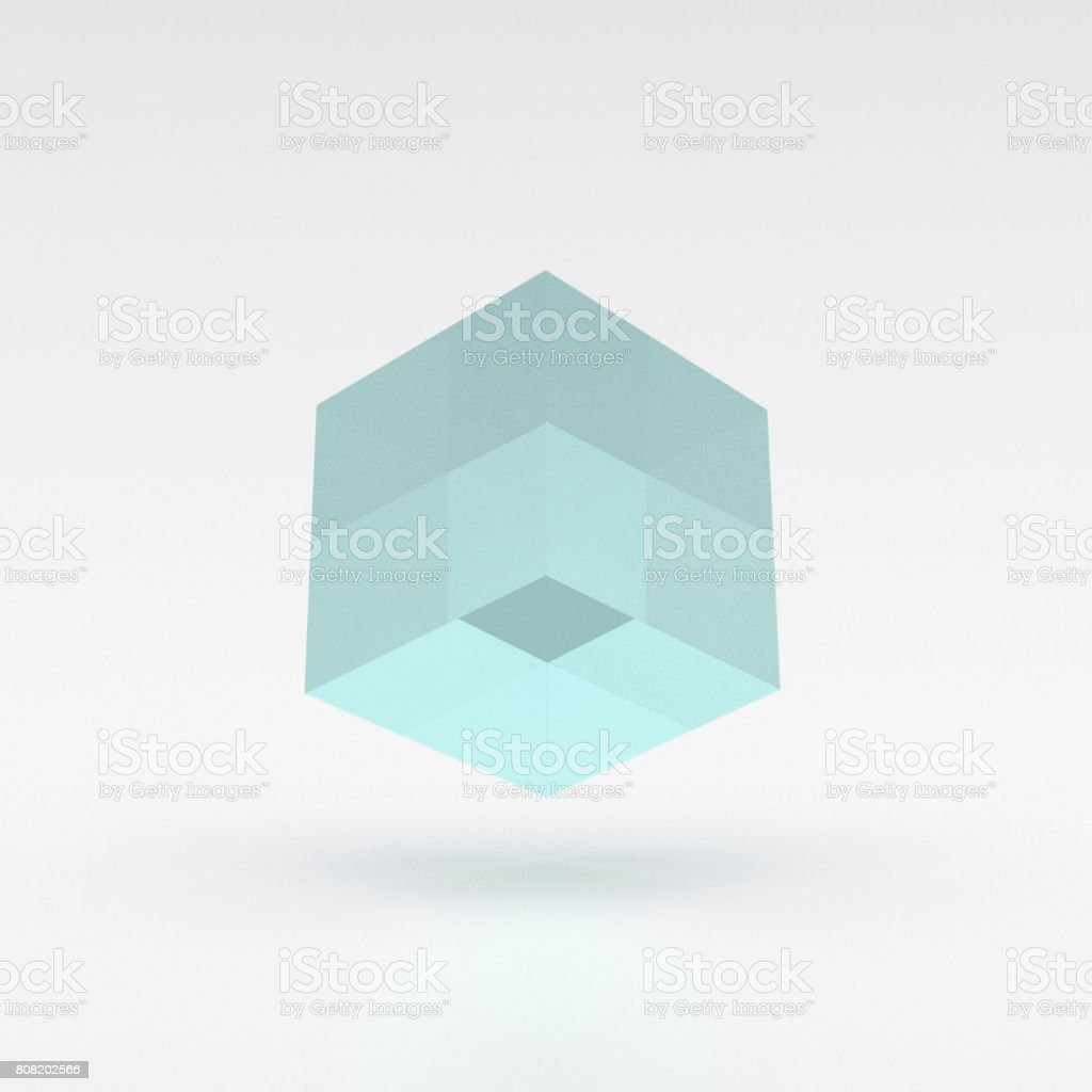 Blue, lucid cube levitating over the ground - 3D illustration stock photo