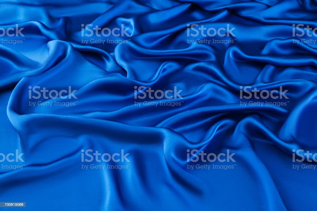 soie luxe bleu, tissu ondulé - Photo