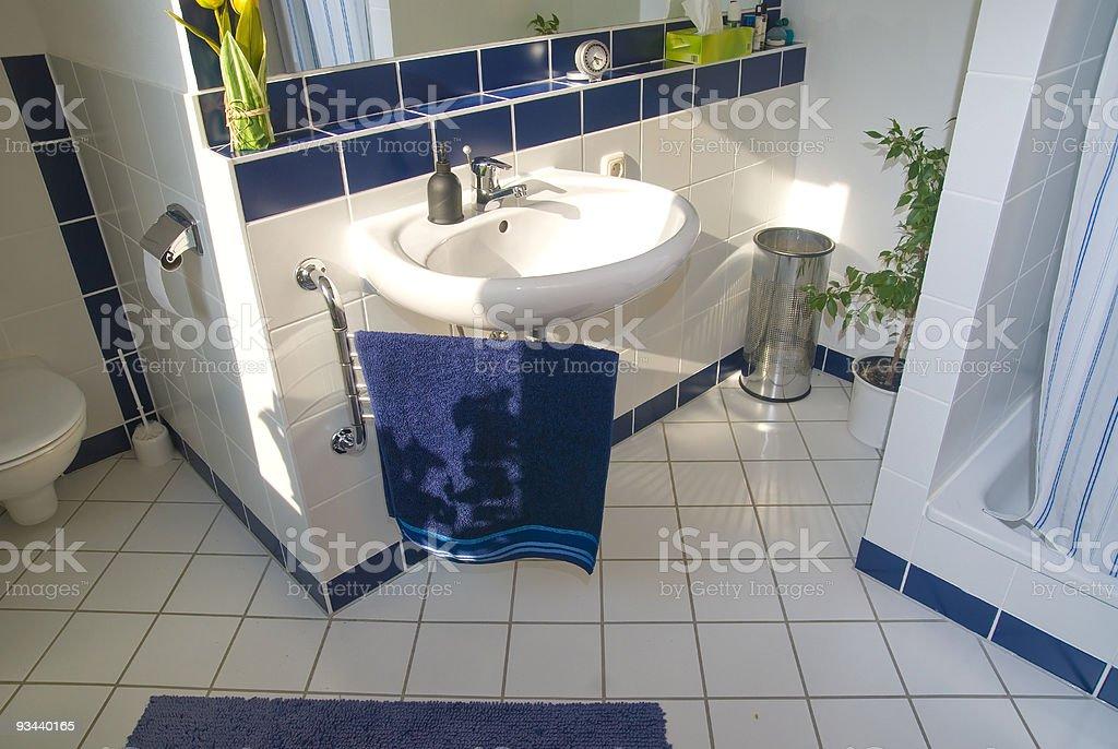 Blau Luxus-Badezimmer mit Tageslicht Lizenzfreies stock-foto