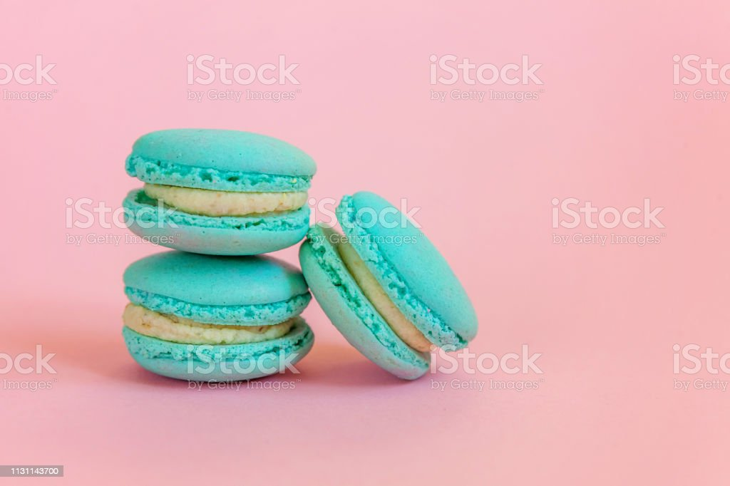 Blue Macaron On Pink Background Stock Photo Download Image Now Istock