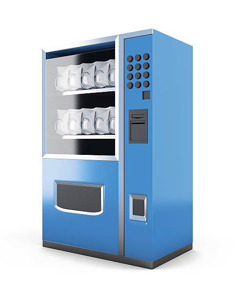 Blue machine for sale of snacks isolated on white background. – Foto