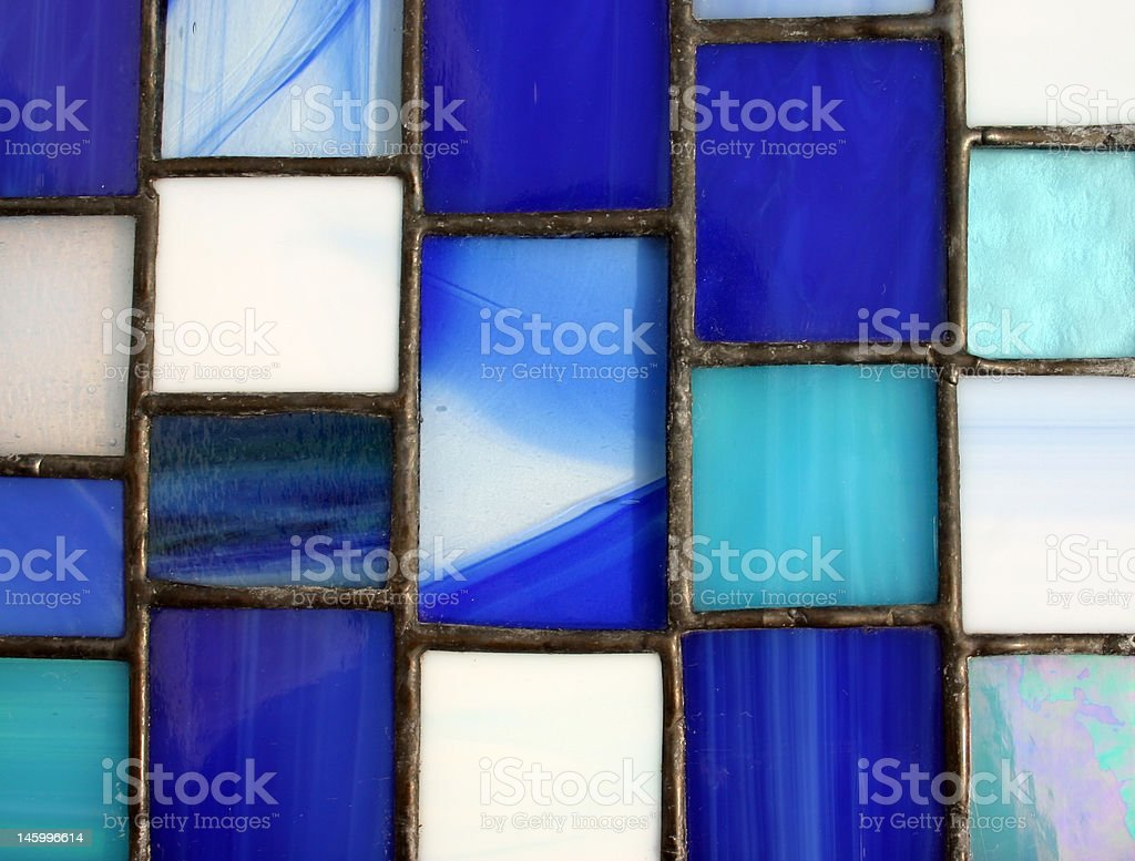 Blue Macro Stained Glass Panel royalty-free stock photo