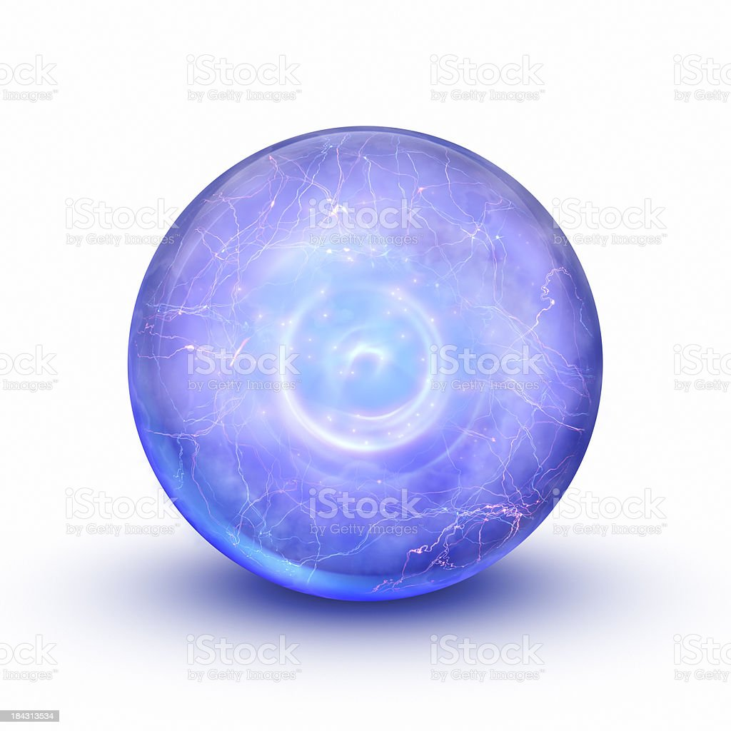 Blue magical sphere. stock photo