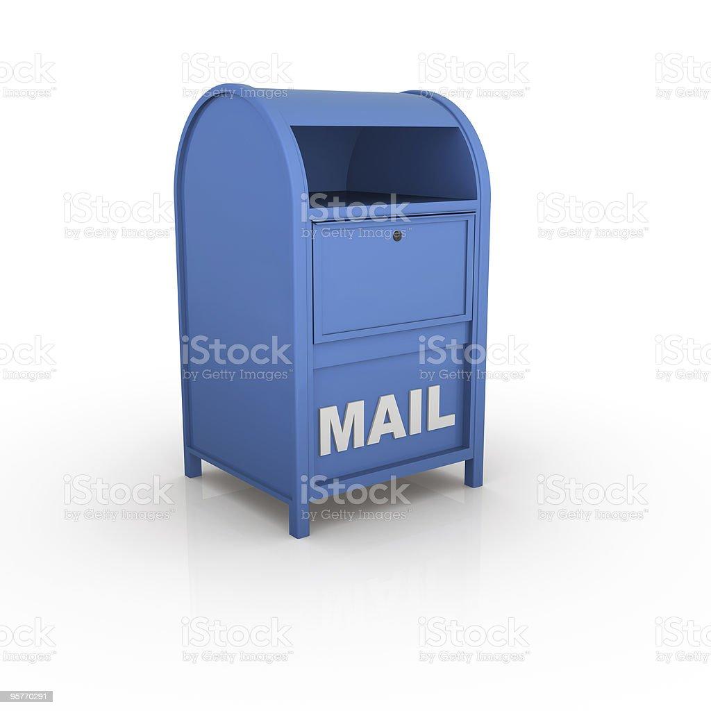 Blue mailbox design on white background royalty-free stock photo