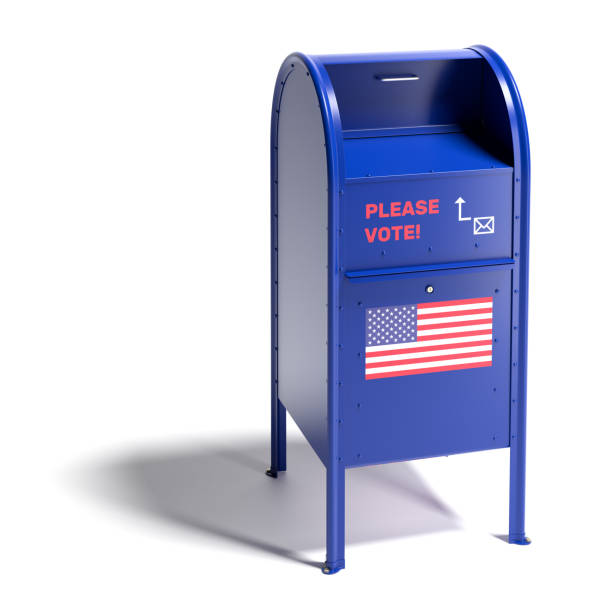 Blue mailbox in the style of the United States Postal Services with a request to vote by mail and an US flag. Mail-in ballot or absentee ballot. Isolated on white with shadow. stock photo