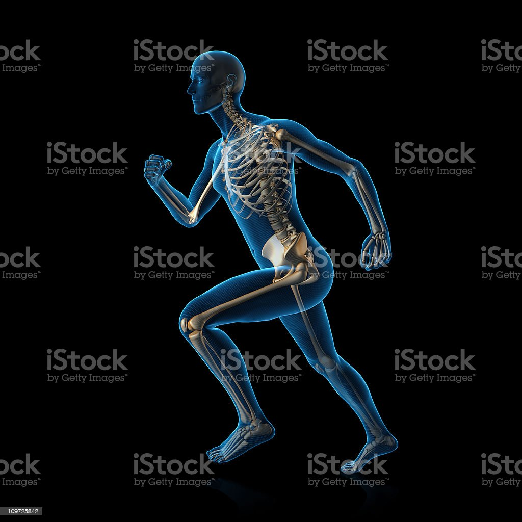 Blue man running royalty-free stock photo