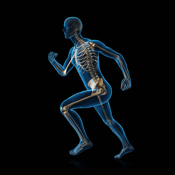blue man running - human skeleton stock photos and pictures