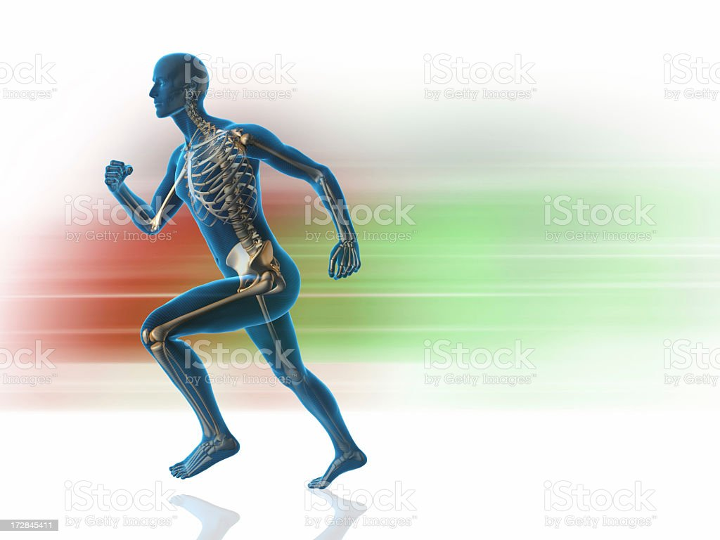 A blue man with skeleton showing that is running royalty-free stock photo