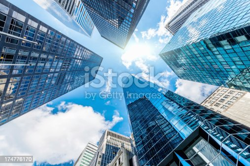 istock Blue Manhattan Skyscapers Wall Street New York City 174776170
