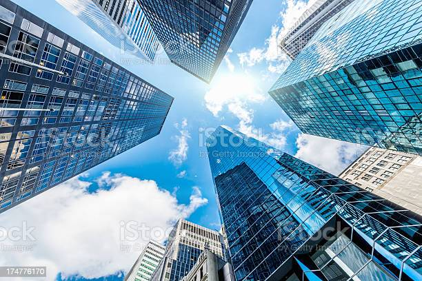 Photo of Blue Manhattan Skyscapers Wall Street New York City
