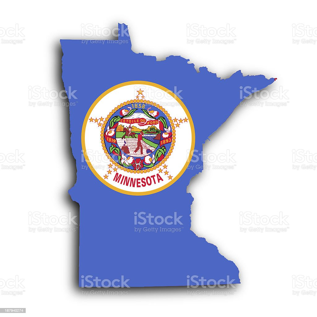 Blue map of Minnesota with the state seal stock photo
