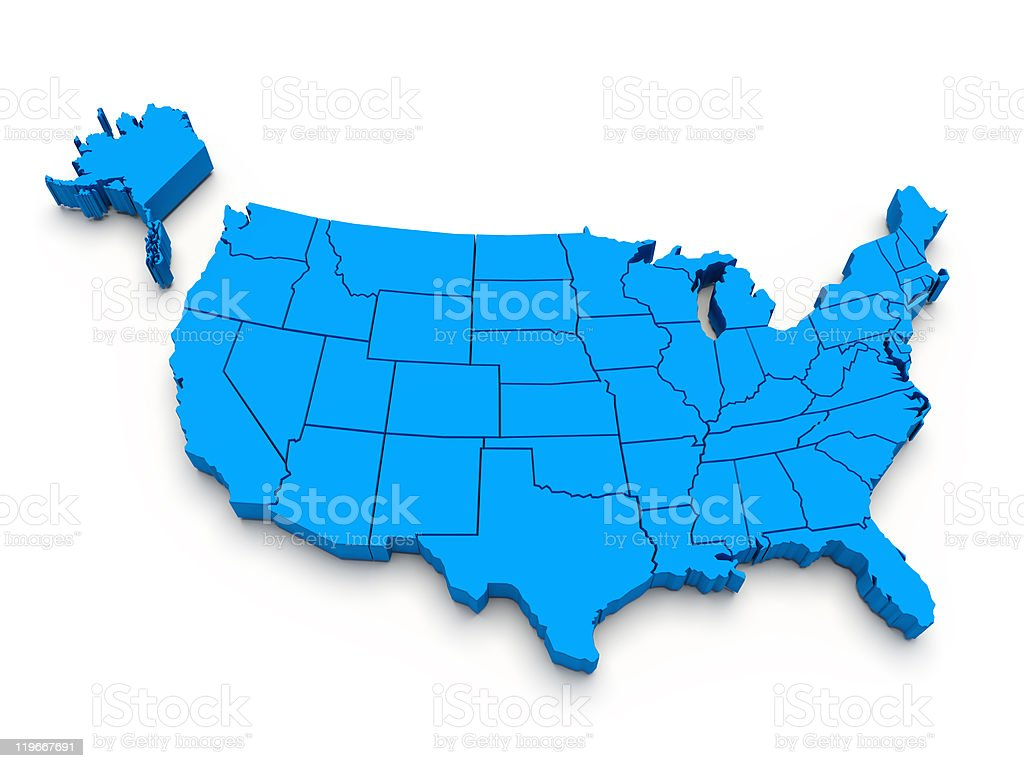 Blue map of USA. 3d stock photo