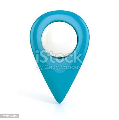 istock Blue Map pointer. 3d illustration 528586053