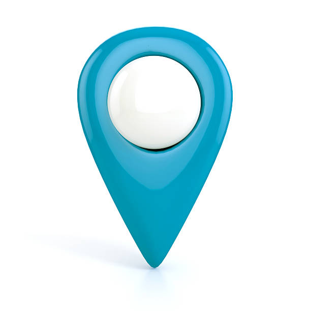 Blue Map pointer. 3d illustration stock photo
