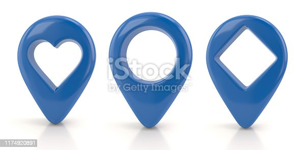 1144228424 istock photo Blue map pointer set 3d illustration 1174920891