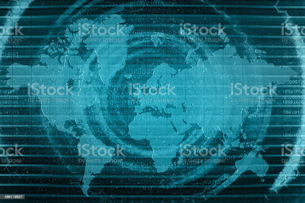 blue map technology background stock photo