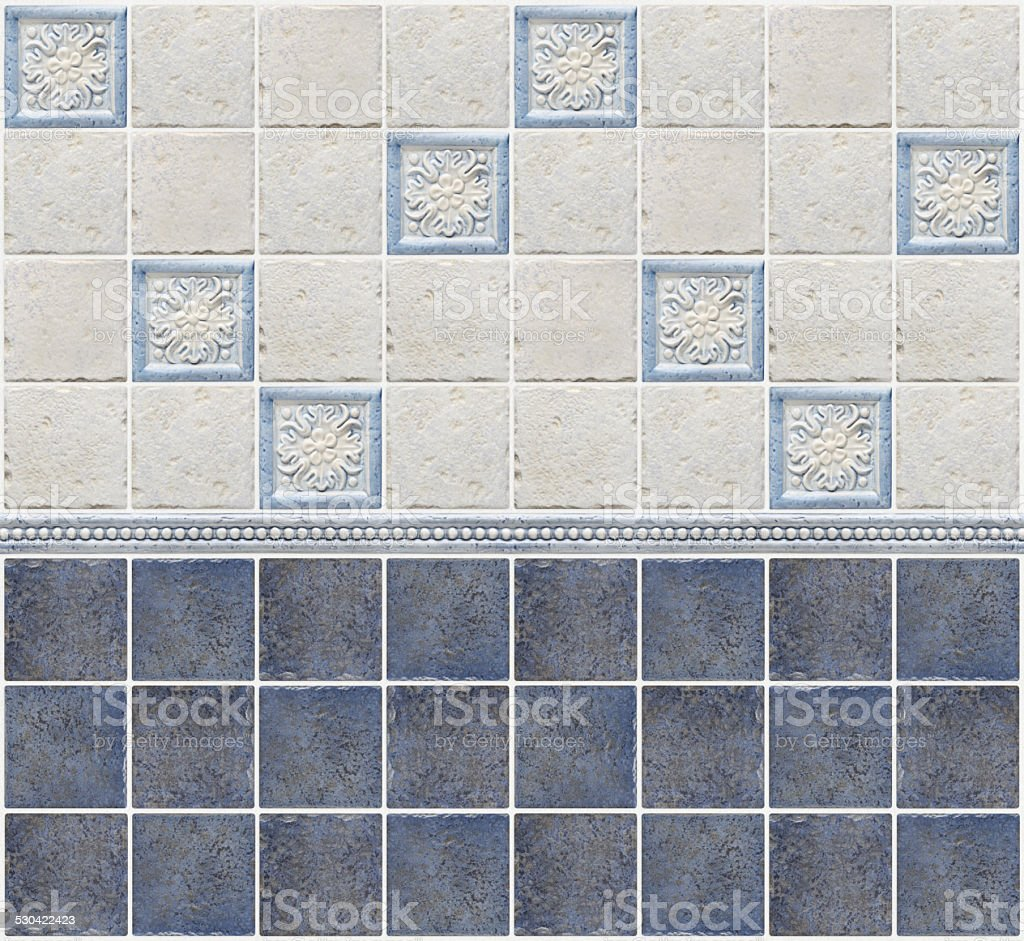 Blue Marble Tiles With Floral Decorations Stock Photo More