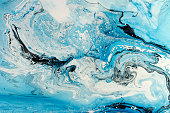 Blue marbling texture. Creative background with abstract oil painted