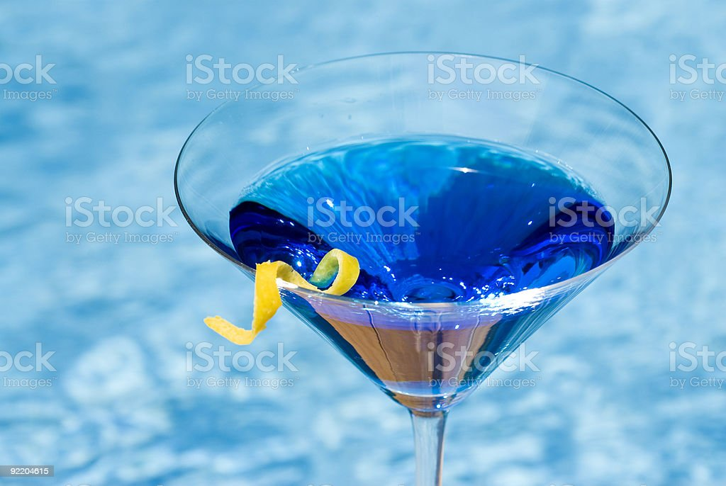 Blue Martini by the Pool stock photo