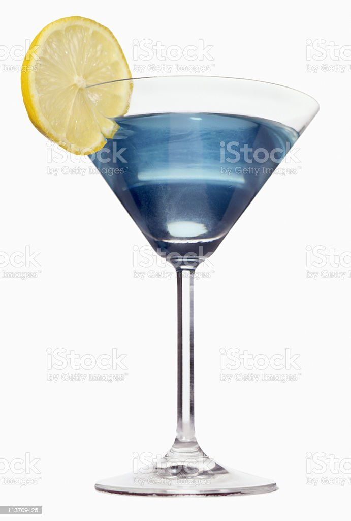 blue martini cut out on white stock photo