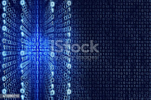 istock Blue Matrix Abstract - binary code Digital background 474990210
