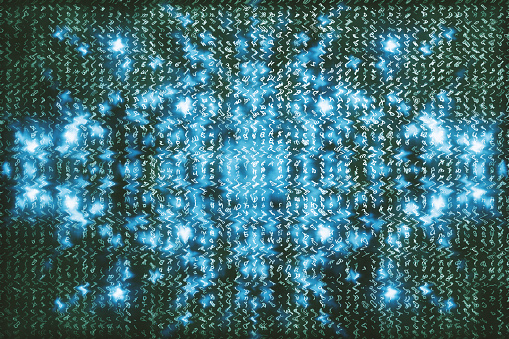 848353924 istock photo Blue matrix digital background. Abstract cyberspace concept. Characters fall down. Matrix from symbols stream. Virtual reality design. Complex algorithm data hacking. Cyan digital sparks. 1139434053
