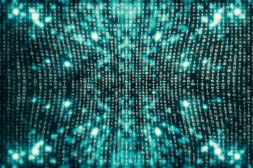 848353924 istock photo Blue matrix digital background. Abstract cyberspace concept. Characters fall down. Matrix from symbols stream. Virtual reality design. Complex algorithm data hacking. Cyan digital sparks. 1140250681