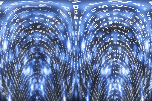 848353924 istock photo Blue matrix digital background. Distorted cyberspace concept. Characters fall down. Matrix from symbols stream. Virtual reality design. Complex algorithm data hacking. Cyan digital sparks. 1139434051