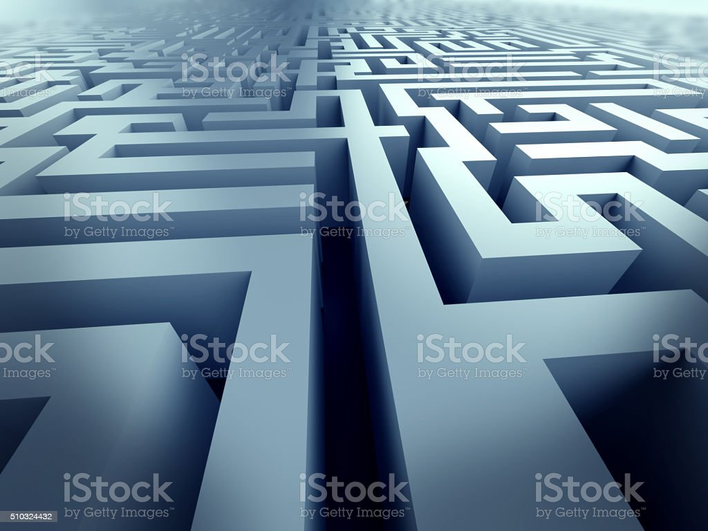 Blue Maze Complex Problem Solving Concept Stock Photo & More