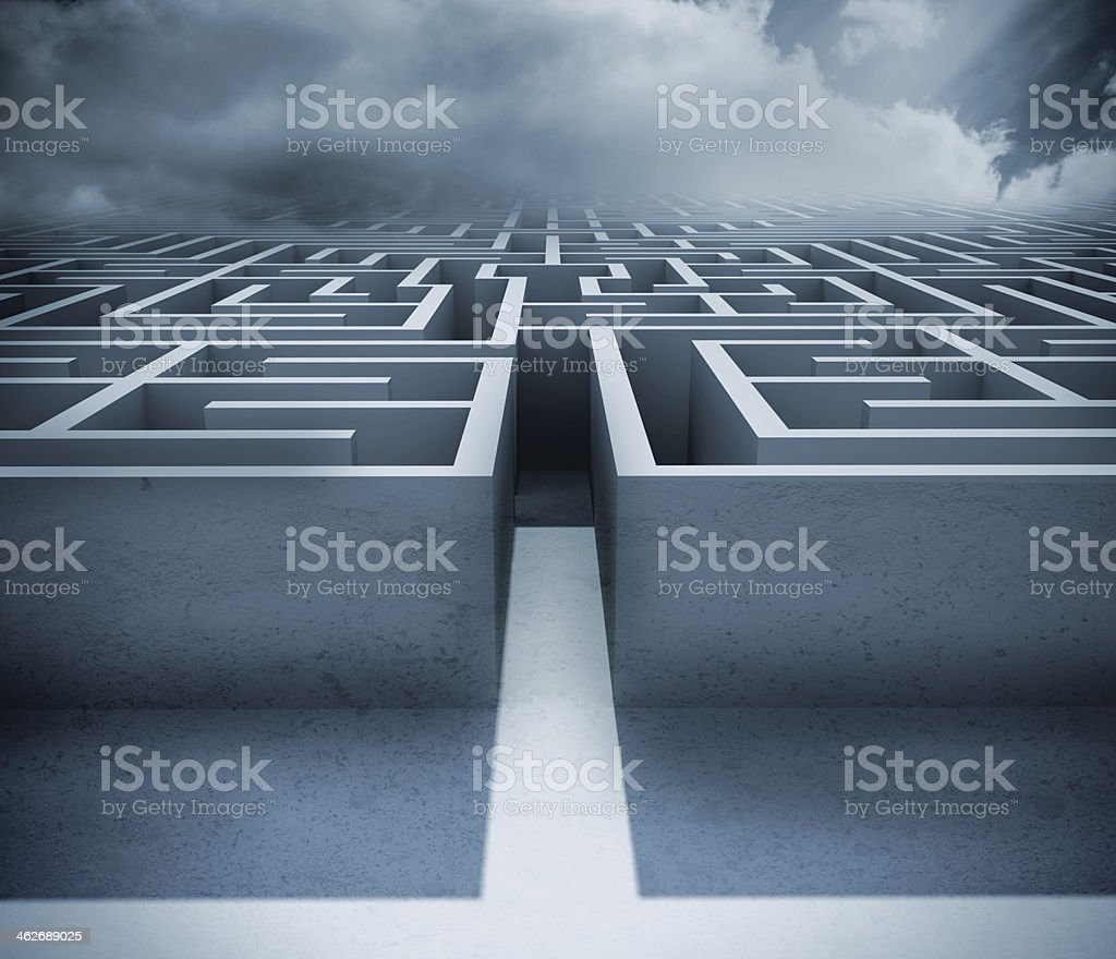 Blue maze stock photo
