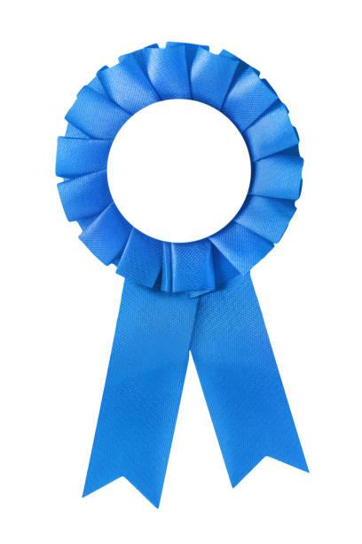 blå medalj och band isolerad mot vit bakgrund - blue yellow band bildbanksfoton och bilder