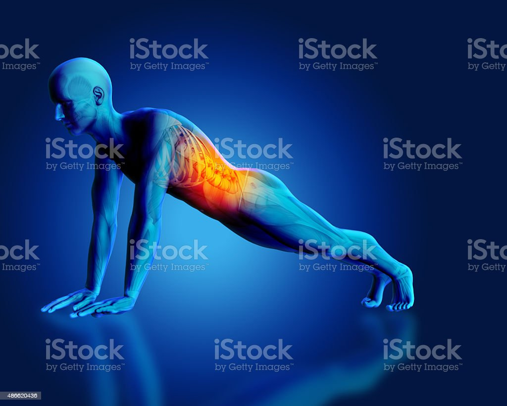 3D blue medical figure in plank position stock photo