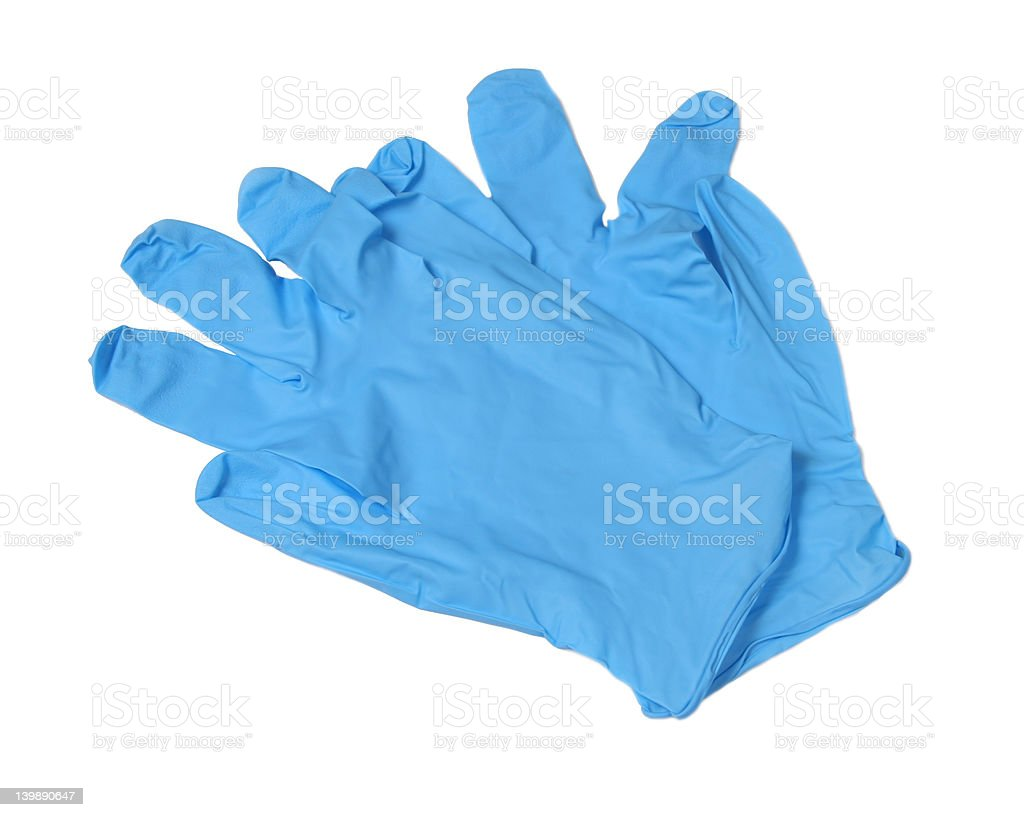 Blue medical gloves - Isolated royalty-free stock photo