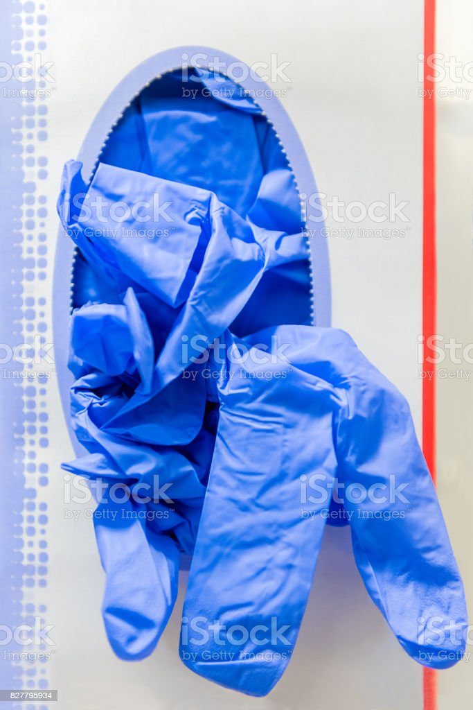 Blue medical gloves stock photo