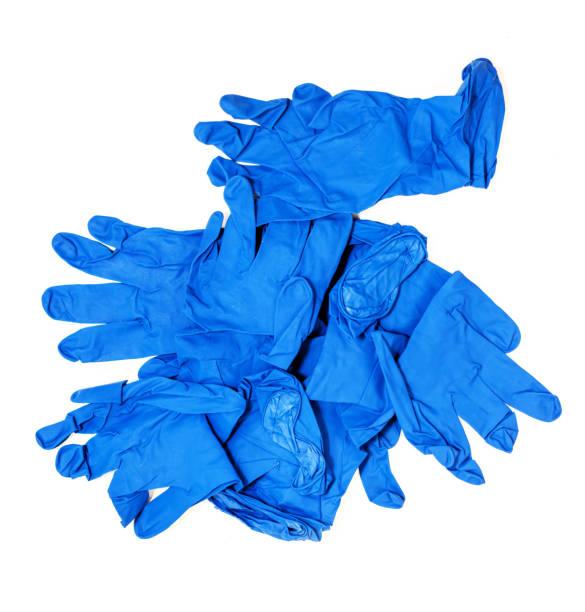 Blue medical latex gloves stock photo
