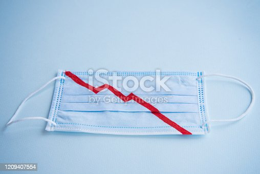 Blue medical mask for protection against virus and other diseases. On the mask, the red color indicates the graph of the fall. Financial collapse. Market decline. Concept. The fall of securities.