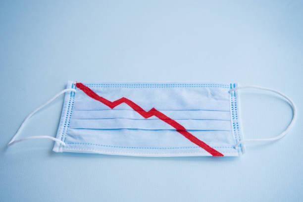바이러스 및 기타 질병에 대한 보호를위한 파란색 의료 마스크. 마스크에서 빨간색은 가을 그래프를 나타냅니다. 금융 붕괴. 시장 하락. 개념. - 불황 뉴스 사진 이미지