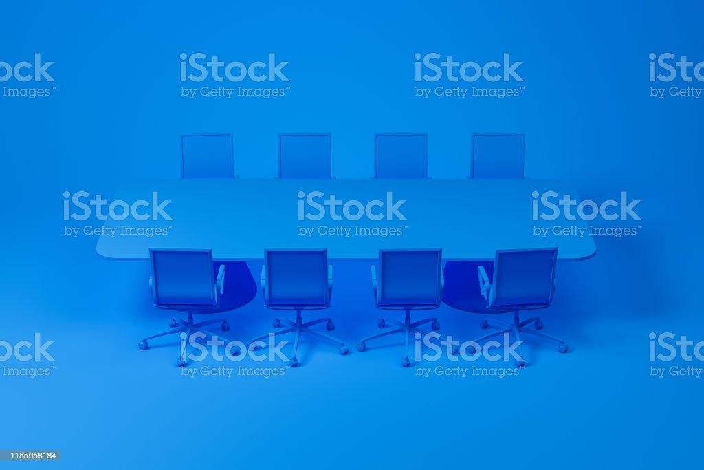 Set of meeting room furniture consisting of blue long rectangular...