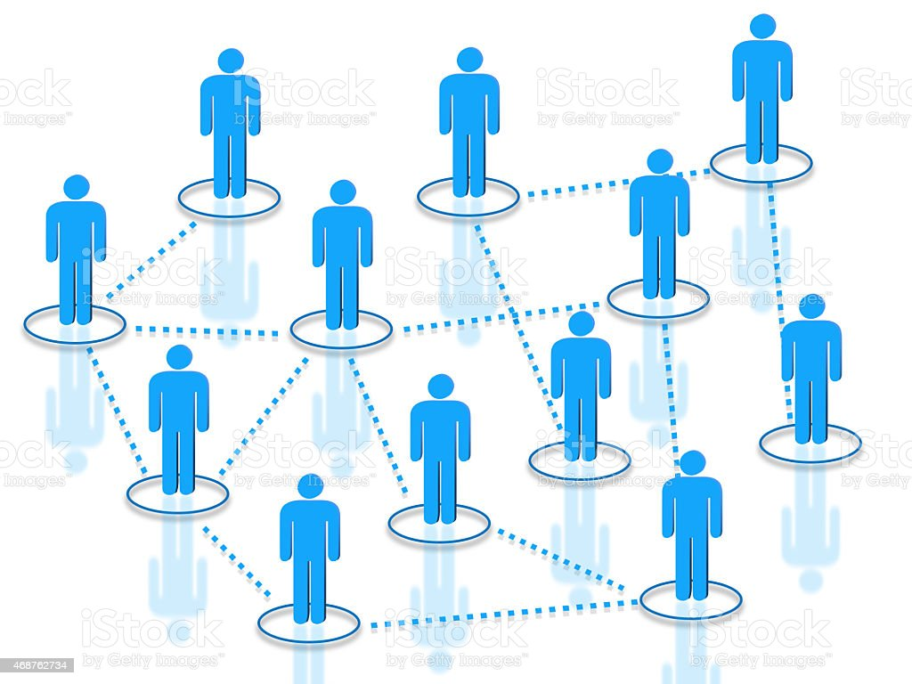 Blue men connected by dotted lines stock photo