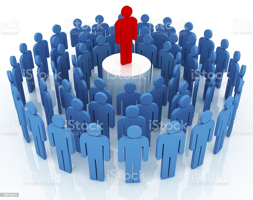 3D blue men in a circle with a long red on a center pedestal stock photo