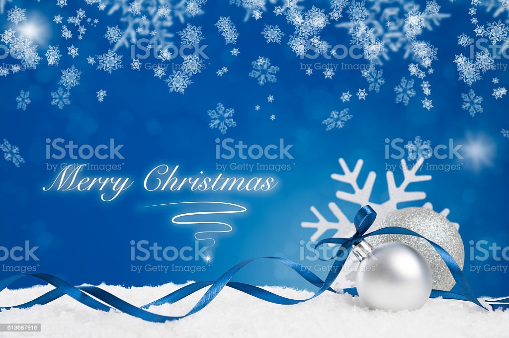 Blue Merry Christmas stock photo