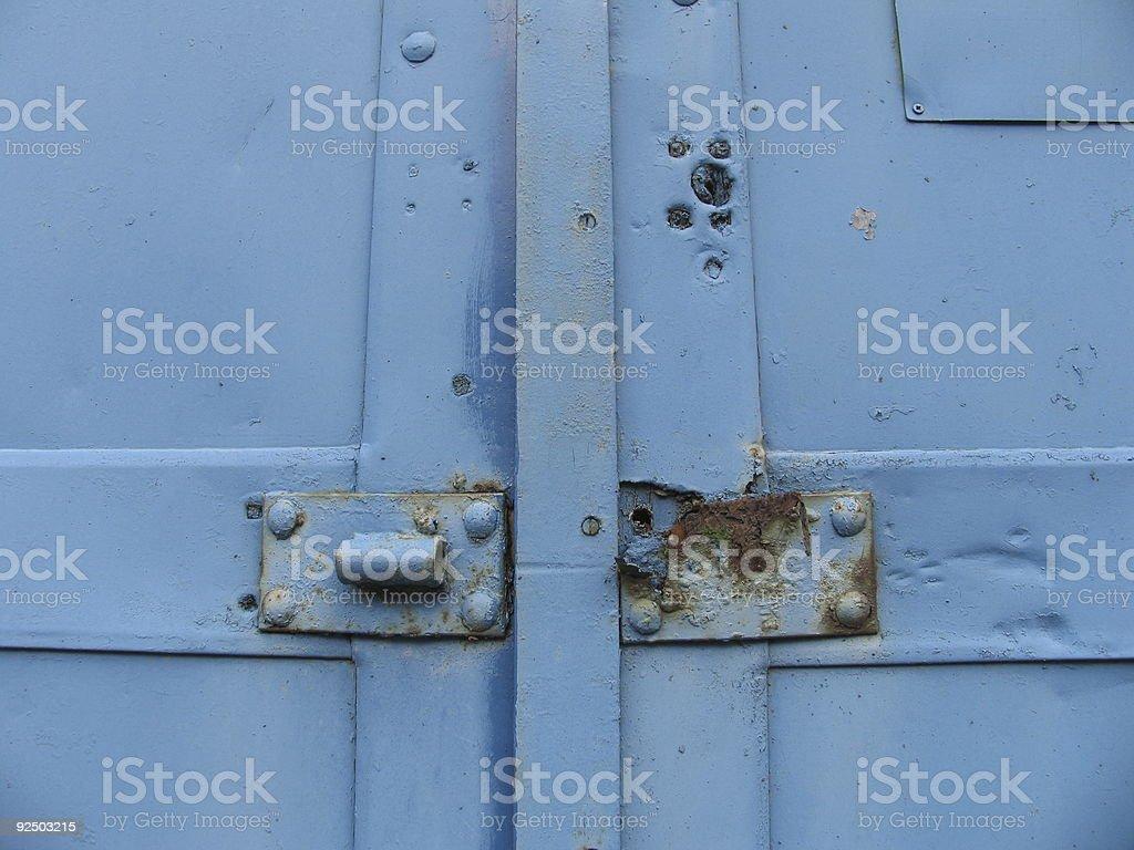 Blue metal door royalty-free stock photo