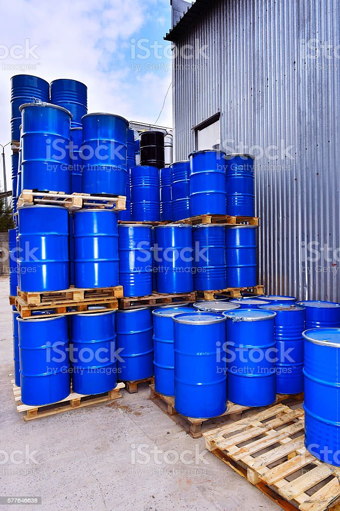 Blue metal fuel tanks of oil stored stock photo