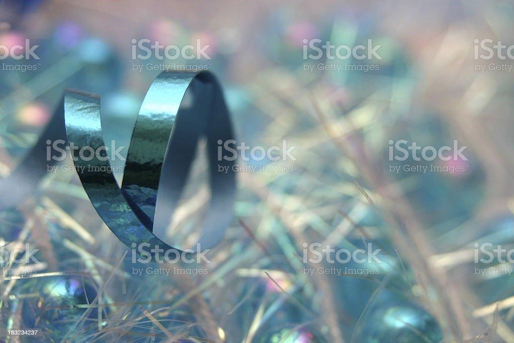 blue metallic ribbon - bow loop garland royalty-free stock photo