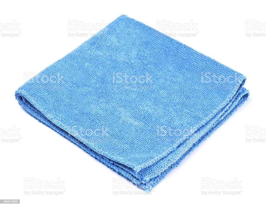 Blue microfiber duster on white background stock photo