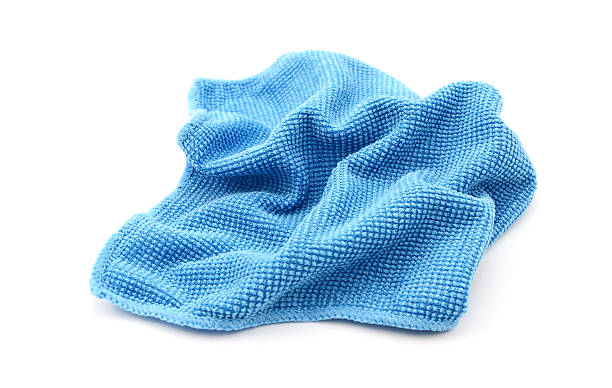 Blue microfibre screen cleaning cloth stock photo