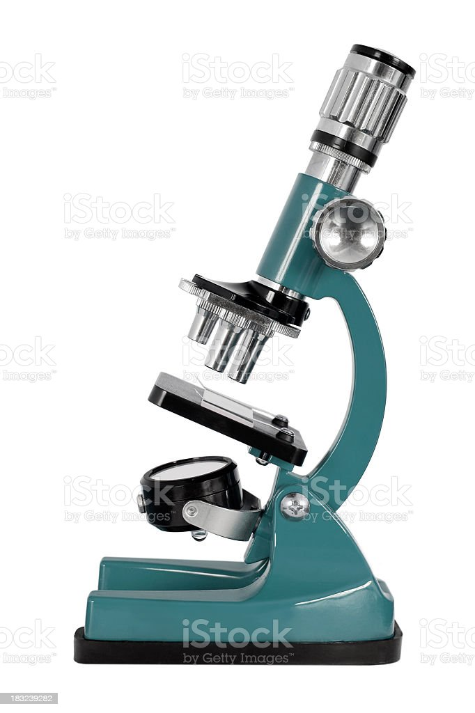 Blue microscope against white background stock photo