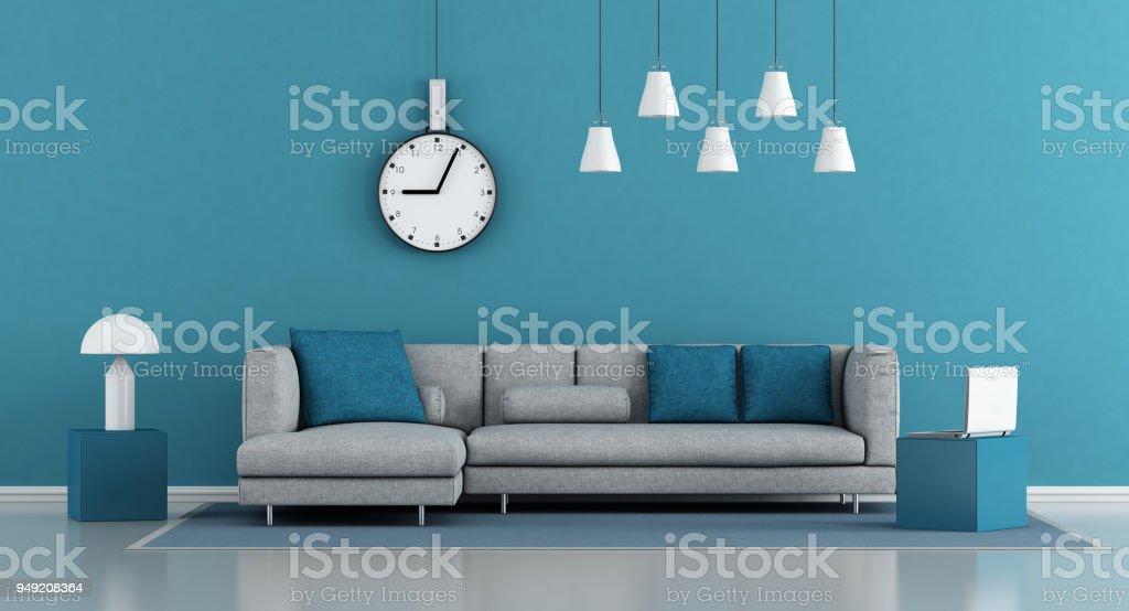 Blue Minimalist Living Room Stock Photo Download Image Now Istock