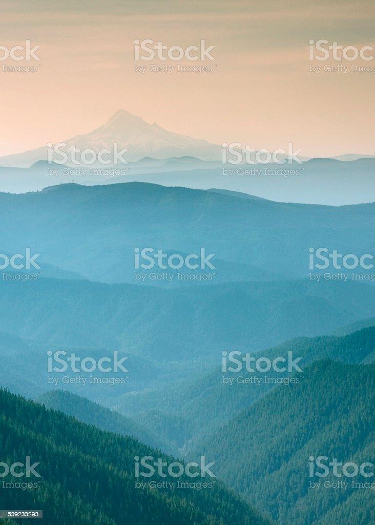 Blue misty view of Mt Adams stock photo